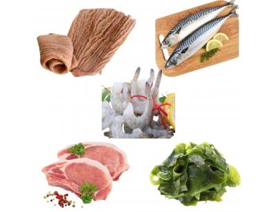 Combo 63: 500Gram Bao Tử Cá Ngừ + 1Kg Cá Saba Nhật+ 1Kg Tôm Thẻ Lột Vỏ Còn Đuôi +1Kg Cốt Lết Heo Cắt Lát +300Gram Rong Biển Tươi